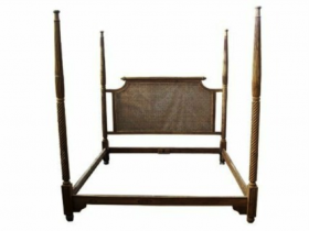 British Colonial Cane 4-Post Bed