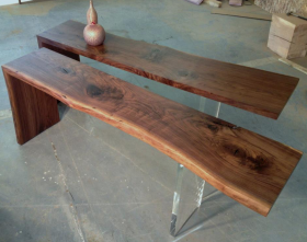 Walnut & Lucite Console Table