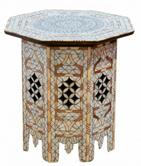 White mother of pearl side table