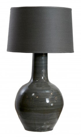 Large Ceramic Meiping Vase Table Lamp - Grey